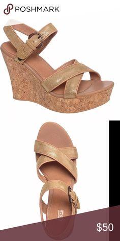 "Ugg Gold leather cork wedge Luxury quality confort of  ugg 5"" wedge 1.5"" platform nwt UGG Shoes Wedges"