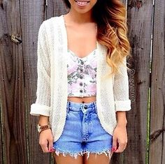 So flirty! I love how the cardigan gives it a laid back vibe but it has a girly look!