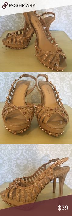"Gianni Bini Studded High Heels Gold Studded Leather Dress Sandals. Excellent condition. Like new. Color is Bisque. 5"" heels. Size 8.5 Gianni Bini Shoes Heels"