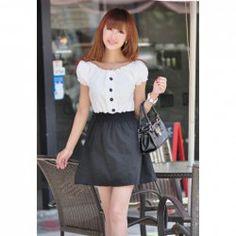 $6.69 Women's Cotton-Terylene Dress With Color Block and Elastic Waist Design