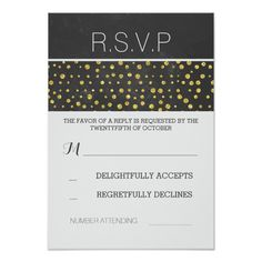 golden confetti dots chalkboard wedding RSVP Card