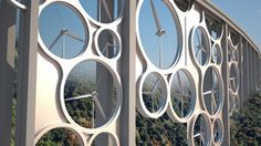 The Solar Wind bridge concept combines solar cells and wind turbines to generate power for...
