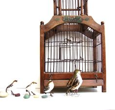 Vintage Wooden Birdcage Dome Wood & Wire by OceansideCastle, $136.00