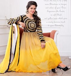 USD 70.68 Yellow Georgette Anarkali Suit 48558