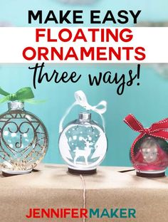 Floating Ornaments with a Cricut Make Easy Floating Ornaments on a Cricut the Easy Way with three different methods, including a photo ornament!Make Easy Floating Ornaments on a Cricut the Easy Way with three different methods, including a photo ornament! Vinyl Ornaments, Clear Ornaments, Photo Ornaments, Diy Christmas Ornaments, Diy Christmas Gifts, Holiday Crafts, Christmas Bulbs, Cricut Ornament, Ornament Template