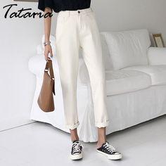 Tataria Jeans Harem For Women Loose Vintage Harem Beige Women's Jeans Pants High Waist Cotton Jean Female Boyfriend Denim Harem Pants Fashion, Harem Jeans, Jeans Pants, Buy Jeans, Beige Jeans, Loose Jeans, Pants For Women, Clothes For Women, Jeans