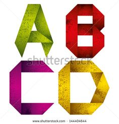 Geometric origami style font with old grunge texture, alphabet letters A B C D vector.
