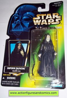 star wars action figures EMPEROR PALPATINE green card power of the force 1997 no holo hasbro toys moc mip mib