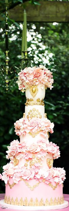 Beautiful detail and intricate soft flowers. The height makes this cake stand out and a beautiful display. #shaadishop, #Indianwedding