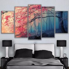 Poster HD Prints Modern Wall Art Canvas For Living Room 5 Pieces Cherry Blossoms Pictures Decor Red Trees Forest Painting Tree Canvas, Canvas Wall Art, Wall Art Prints, Living Room Canvas Art, Framed Canvas, Diy Canvas, 5 Panel Wall Art, Room Wall Decor, Bedroom Wall