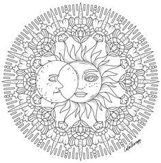 Sun moon to colour on color therapy app. Sun Coloring Pages, Planet Coloring Pages, Adult Coloring Book Pages, Mandala Coloring Pages, Coloring Pages To Print, Free Printable Coloring Pages, Coloring Books, 3d Cuts, Coloring Pages Inspirational