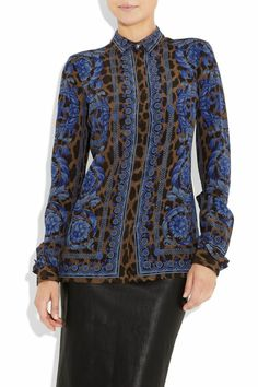 35ab58c3239e Versace Shirts, Border Print, Point Collar, Printing On Fabric, Fabric  Printing