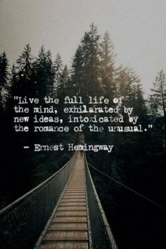 """•*""""˜˜""""*•❥ """"Live the full life of the mind, exhilarated by new ideas, intoxicated by the romance of the unusual."""" ~~Ernest Hemingway"""