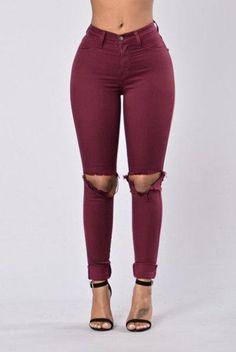 Simple Fashion Rips Design Slim Pencil Pants