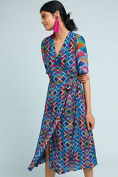 Slide View: Timara Wrap Dress from Anthropologie Boho Outfits, Cute Outfits, Special Occasion Dresses, Fashion Prints, Casual Dresses, Wrap Dress, Autumn Fashion, Style Inspiration, Clothes For Women