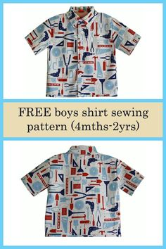 The generous designer has given us all this awesome pattern for free. You can make this lovely boys shirt with short or long sleeves. Baby Boy Shirts, Boys Dress Shirts, Boys Shirts, Baby Boy Outfits, Boys Sewing Patterns, Doll Dress Patterns, Sewing For Kids, Pattern Sewing, Pants Pattern
