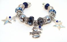 Dallas Cowboys Cuff Bracelet with Rhinestones and Silver Star Charms