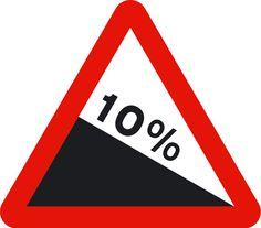 Bajada con fuerte pendiente (p16a); Peligro por la existencia de un tramo de vía con fuerte pendiente descendente. La cifra indica la pendiente en porcentaje