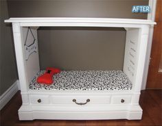 Luv this dog bed made from an old TV set - it's like a doggie bedroom!