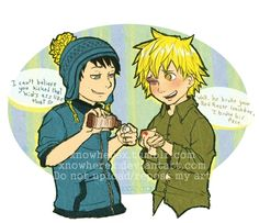 Got Yo' Back by xNoWherex on deviantART. Love the idea of Tweek actually being super strong, but no one really knows unless tweek actually beat them up Craig South Park, Tweek South Park, Kuroo, Kenma, South Park Goth Kids, South Park Memes, Fujoshi, Otp, Cute Couples