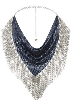 Blue and silver minimesh necklace with fringes