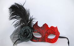 SALE Red & Black Masquerade Mask  Costume Ball by MadameMerrywidow