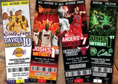 NBA Custom Birthday Invitation Ticket Any Team Any by DigiCards