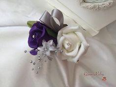 Cadbury Purple & Ivory Rose With Silver Loops & Babies Breath