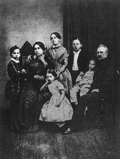 The Tchaikovsky family in 1848. Left to right: Pyotr, Alexandra Andreyevna (mother), Alexandra (sister), Zinaida, Nikolai, Ippolit, Ilya Petrovich (father).