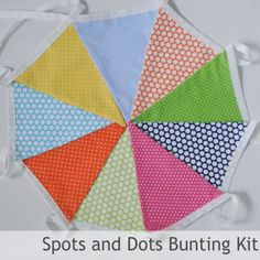 Bunting Sewing Kit - Spots and Dots - all you need to make 3 mtrs of fab bunting! Triangles, specialist bunting tape, full instructions and a fab drawstring bunting bag to store you homemade bunting in! #festival #tent #camping #fun #party #garden #bbq #sewing