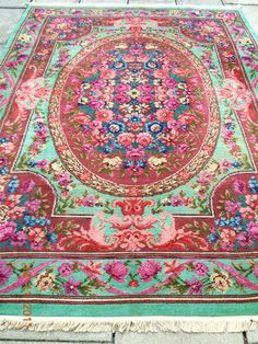 RARE 1920s Designer Floral Ribbons Roses French Style Aubusson Rug Carpet | eBay