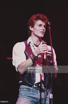 Singer Morten Harket performing with Norwegian pop group A-ha, UK, circa 1987.