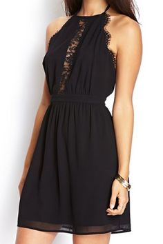 Lace Splicing Black Color Sleeveless Backless Nipped Waist Women's Dress