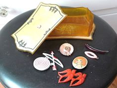 ADORABLE vintage CELLULOID lot jewelry box brooches hair clips 1930's-1950's | eBay, sold for $9.99