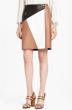 Michael Kors Colorblock Leather Wrap Skirt available at #Nordstrom.. HATE the colors, love the color blocking!