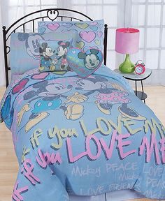 She does love Mickey and Minnie. Disney Bedding, Mickey Mouse and Minnie Mouse Comforter Sets - Bed in a Bag - Bed & Bath - Macy's Minnie Mouse Bedding, Disney Bedding, Full Comforter Sets, Kids Bedding Sets, Bed Sets, Crib Sets, Blue Bedding, Crib Bedding, Bedroom Themes