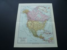 old political map of North America  1926 by DecorativeMaps on Etsy, €10.95