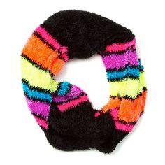 Rainbow Striped Chenille Infinity Scarf
