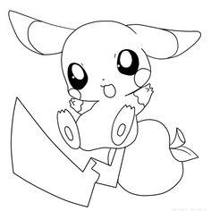 Colorear Raichu contento (Pokemon), dibujo para colorear ...
