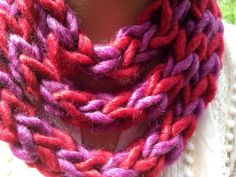 Handwoven red and purple infinity scarf