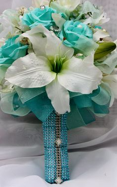 Wedding Bouquet Mint Turquoise Rose Lily Bridal by TheGlitterboxLC, $195.00