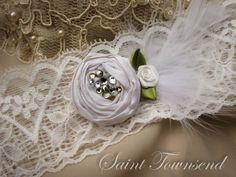 Ivory Stretch Lace Wedding Garter with Dupioni  Silk Rosette and Swarovski crystals