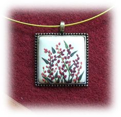 Rectangle Necklace Floral Necklace Brown Beige Clay by Floraljewel