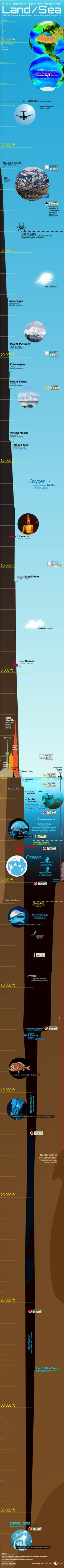 Scaled infographic showing the features of Earth's land surface and oceans.