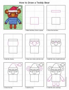 How to draw a holiday Teddy Bear.  PDF tutorial available. #howtodraw