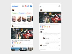 Facebook App Redesign by Mickael Guillaume on Dribbble Desing App, Android App Design, App Ui Design, Mobile App Design, Web Design, Mobile Ui, Facebook Mobile App, Quotes App, App Design Inspiration