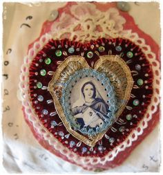 prayer flag - sacred heart advances by peregrine blue Religious Icons, Religious Art, Rose Brown Hair, Embroidery Patterns, Hand Embroidery, Fabric Hearts, Prayer Flags, Sacred Art, Heart Art