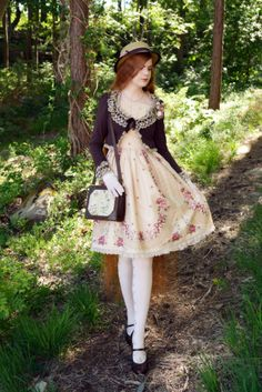 "louvrianne: "" Hat: Innocent World Necklace: Handmade Corsage: Kanikanijin Bolero: Innocent World Dress: Innocent World Bag: Axes Femme Gloves: Victorian Maiden Socks: Innocent World Shoes: Naya """