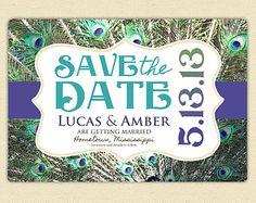 Handmade printable save the date postcard – Etsy peacock
