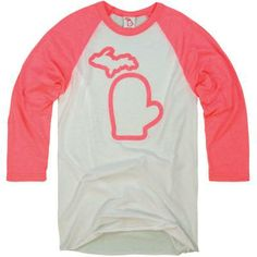 The Mitten State Women's Baseball 3/4 Sleeve Tee Pink Mittens, The Mitten State, Baseball Tees, Clothing Company, Work Wear, Michigan, Tee Shirts, My Style, Sweatshirts